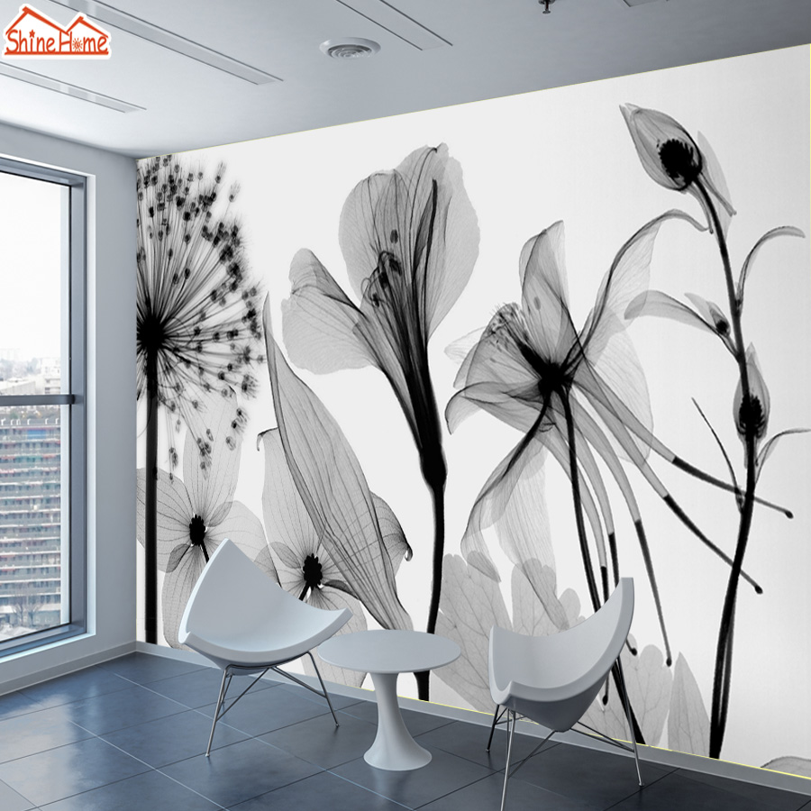 ShineHome-Custom Dandelion Chinese Ink Painting Nature Wallpapers 3 d Wall Paper Art Wallpaper Mural Roll for Living Room Walls shinehome skyline sea wave sunset seascape wallpaper rolls for 3d walls wallpapers for 3 d living rooms wall paper murals roll