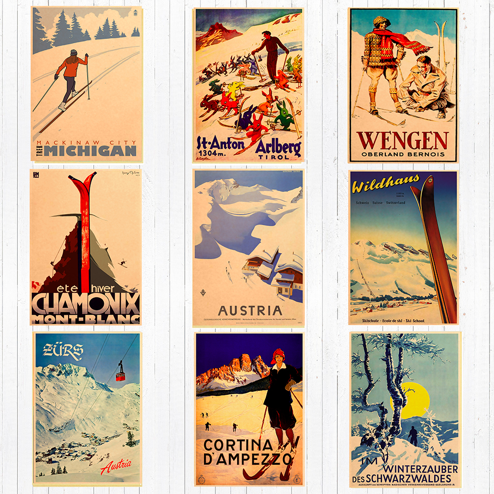 Canada Ski In Alaska Canvas Painting Skiing Vintage Wall Kraft Posters Coated Wall Stickers Home Decoration Pictures Gift