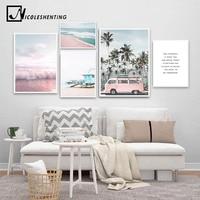 المحيط المشهد قماش المشارك الشمال نمط الشاطئ الوردي حافلة جدار الفن طباعة اللوحة الديكور صورة الاسكندنافية ديكور المنزل
