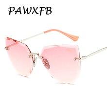 Pop Age 2018 New Rimless Ocean Pink Yellow Sunglasses Women Brand Designer Crystal Side Metal Legs Cat Eye Sun Glasses Eyewear