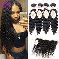 Ariel 4 Bundles Malaysian Deep Wave With Frontal Closure 8A Malaysian Lace Frontal Closure With Bundles Deep Curly With Closure