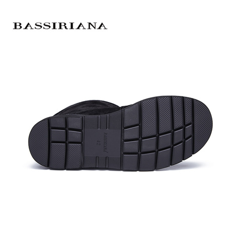 BASSIRIANA new warm genuine leather shoes men snow ankle boots winter round toe slip-on soft nature wool black suede size 39-45 Karachi
