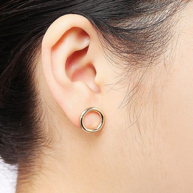 2019 New Simple Gold color Vintage Dangle Big Circle Hoop Earrings Women Steampunk Ear Clip Loop Earrings for Women Jewelry