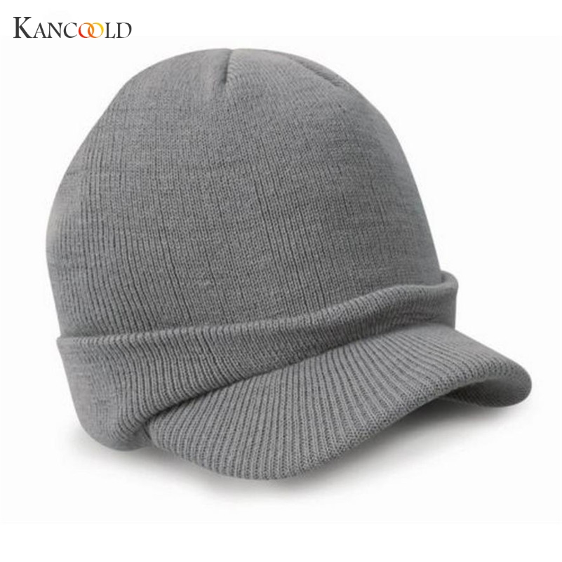2017 Autumn Fashion Men Knitted Winter Cap Peaked Army Beanie Hat Warm Wooly Winter Mens Ladies Cadet Ski Caps Gorros Hats Oc14D