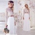 Lace Long Sleeve Two Piece Bohemian Country Wedding Dresses 2016 White Chiffon Vestidos De Novia