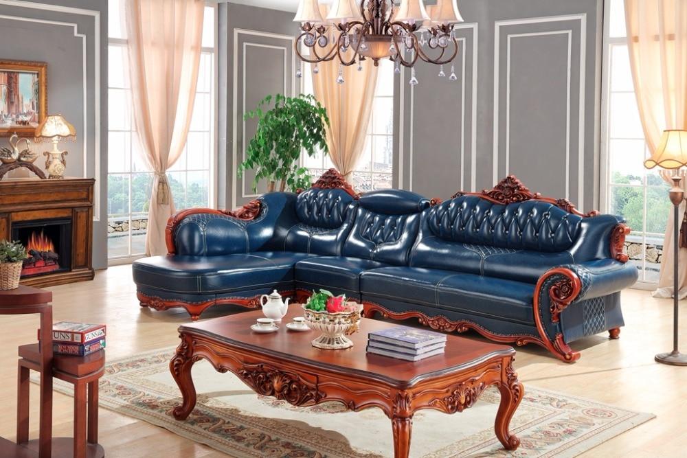 European Leather Sofa Set Living Room China Wooden Frame L Shape Corner Luxury Blue