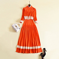 HIGH QUALITY Newest 2018 Spring Designer Runway Dress Women S Long Sleeve Lace Fringe Long Dress
