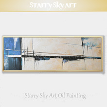 New Arrivals Artist Hand-painted High Quality Abstract Oil Painting Simple Design White and Blue for Decor
