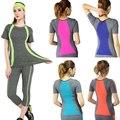 Nuevo estilo de yoga rayas top gimnasio compresión de las mujeres camisetas del deporte corriendo de secado rápido de manga corta ropa de la aptitud de las mujeres camisetas tops