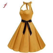 732c63d463a Feitong Sleeveless Halter Dress Sexy Women Solid With Sashes Hepburn  Vintage Dress Ladies High-Waist