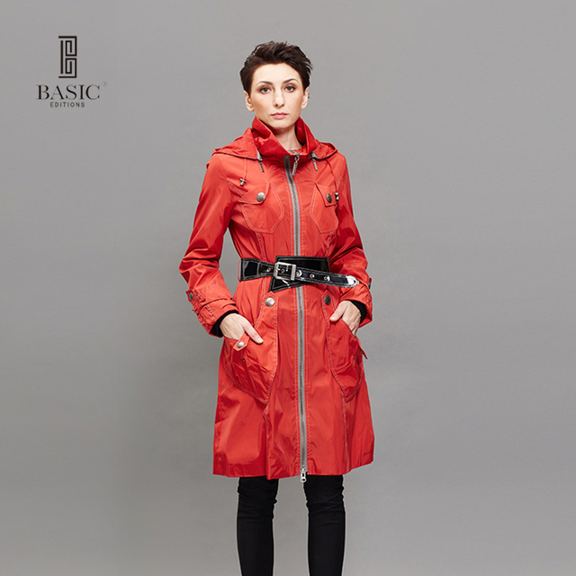 BASIC EDITIONS Women Long Trench Coat Spring Autumn Fashion  Windbreaker Overcoat Pockets Spliced Slim Trench Coat - FZ-082018