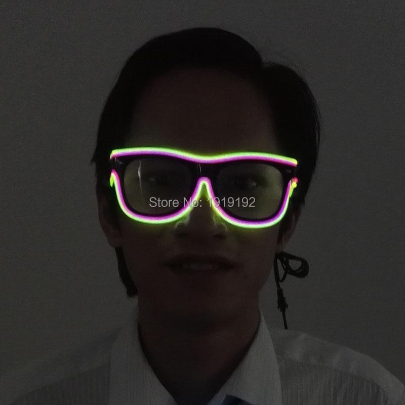더블 컬러 엘 와이어 네온 LED 라이트 셔터 새로운 도착 글로우 안경 레이브 의상 파티 DJ 브라이트 선글라스