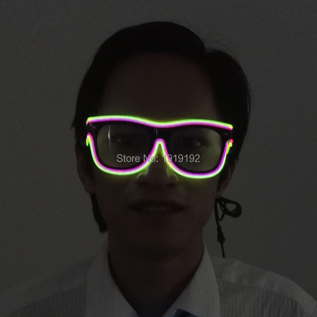 f572688459 Double Colorful El Wire Neon LED Light Up Shutter new arrival Glow Glasses  Rave Costume Party DJ Bright SunGlasses