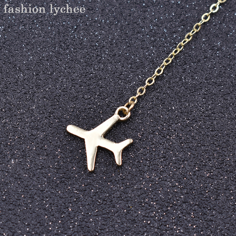 fashion lychee Creative Gold Silver Color Airplane Shape Pendant Necklace For Women Tiny Aircraft Drop Necklace Jewelry Gift image