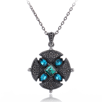 Norse Viking Triskele Statement Necklace Blue Stone Cross Trendy