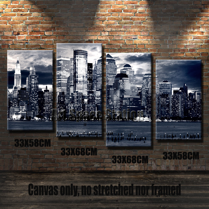 Black and white canvas wall art new york manhattan city poster print 3 panels modern wall painting wall picture home decors in painting calligraphy from