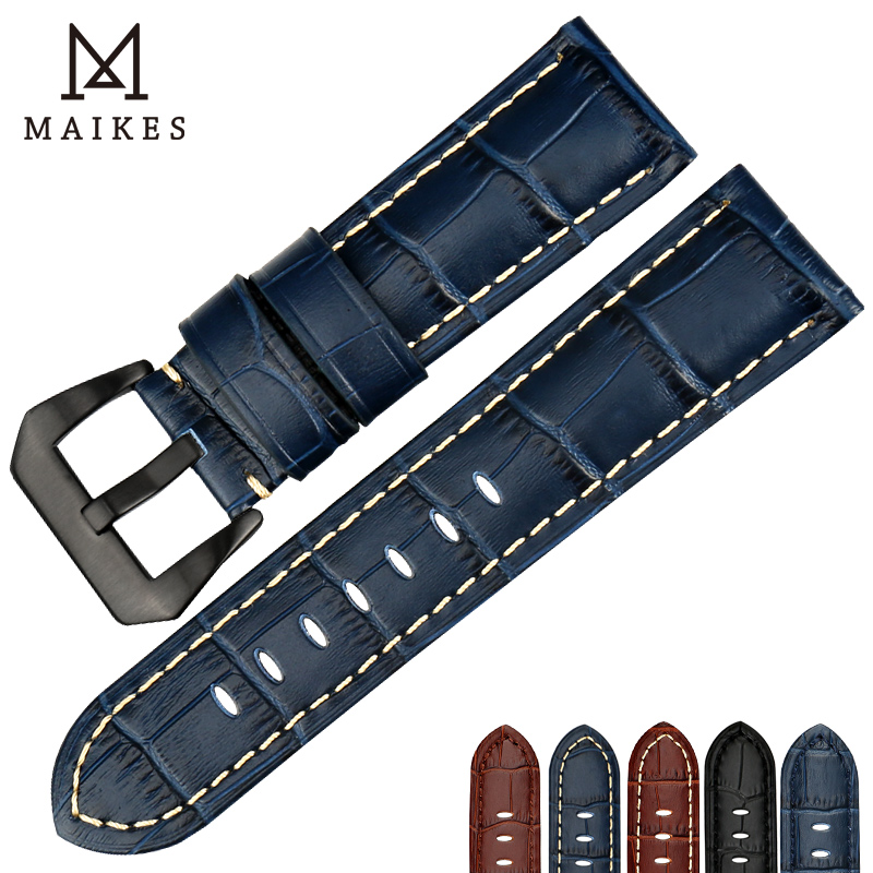 MAIKES Handmad Watch Accessories Blue Genuine Leather Black Steel Buckle 22mm 24mm 26mm Watchband Watch Strap & Watch Band