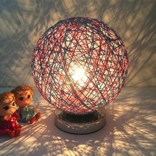 Creative Hemp Rattan Ball design table lamp 9 Color Dia 20CM E27 5W LED US Plug 110/220V for Bedroom living room indoor lighting(China)