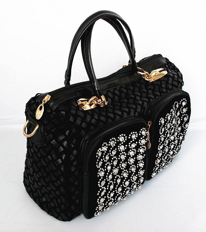ФОТО 2017 New Single Shoulder Bag Woven Diamond Xiekua Package Retro Trend Fashion Diamond Ladies Handbag Bag