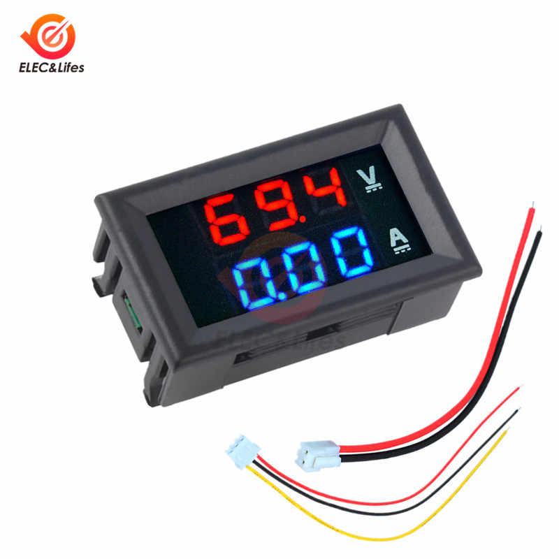 DC 0-100V 10A 50A 100A Elektronik Digital Pengukur Tegangan Volt Pengukur Amper 0.56 ''LED Display Tegangan Regulator Volt Amp current Meter Tester