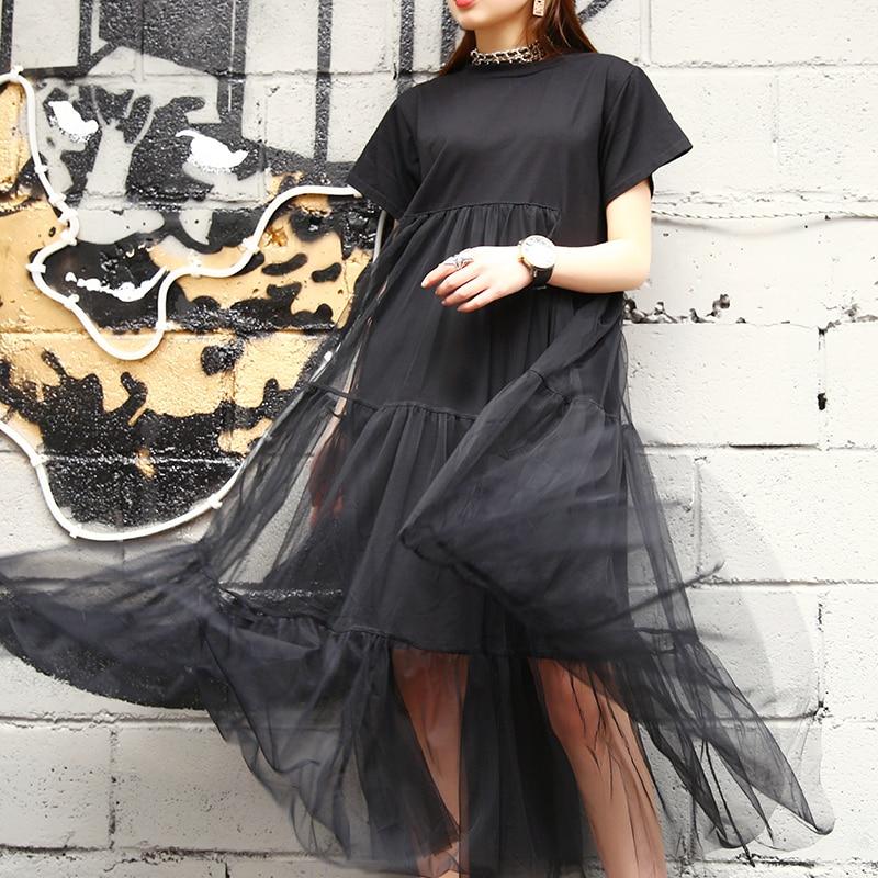 Été nouvelle mode 2019 grande taille noir couture Net fil col rond à manches courtes taille lâche robe femmes 3361.5XL