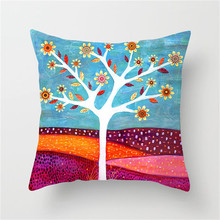Fuwatacchi Hand-Painted Flower Cushion Cover Plant Tree Pillow Case Sofa Car Home Decoration Decorative Pillowcase 2019