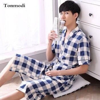 Summer robe male short-sleeve cotton 100% ultra long bathrobe sleepwear plus size 5933 lounge