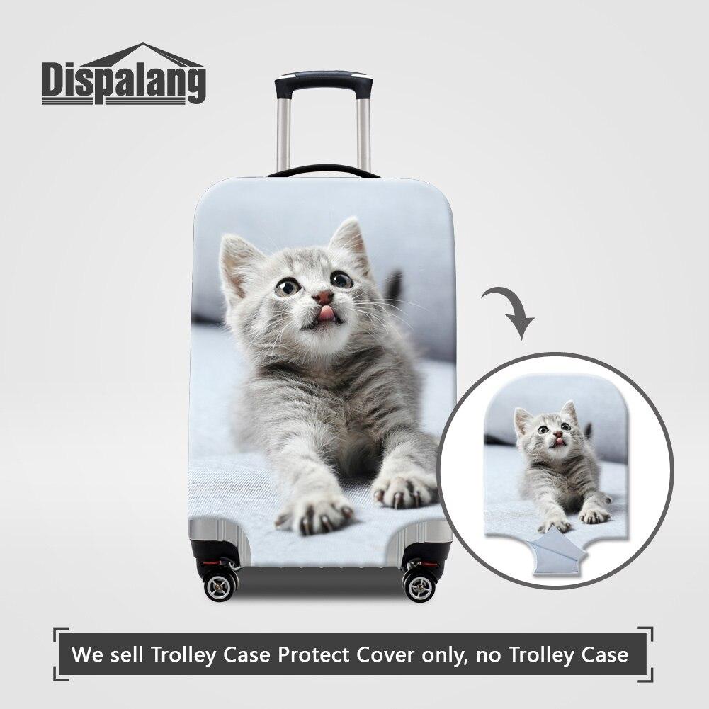 US $14 99 OFF Dispalang Tebal Elastis Bagasi Protector Cover Wit Ritsleting Lucu Hewan Kucing Gambar Case Untuk Koper Wanita Gadis Indah Penutup
