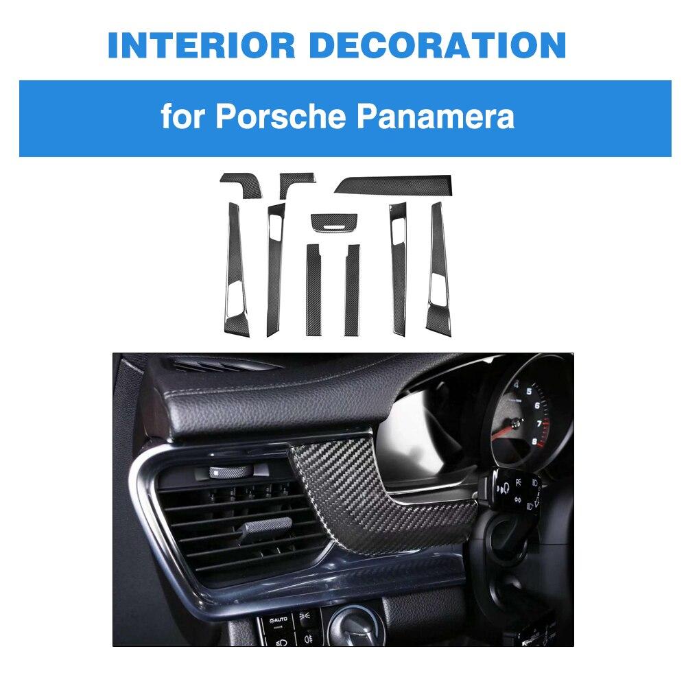 10 шт. 100% реальные углеродного волокно для Porsche Panamera интерьер приборной панели отделкой дверные ручки подлокотник крышка 971 стайлинга автомо