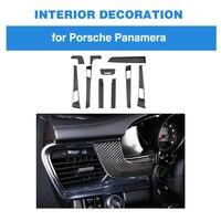 10pcs 100% Real Carbon Fiber For Porsche Panamera Interior Dashboard Trim Door Handle Armrest Cover 971 Car Styling LHD
