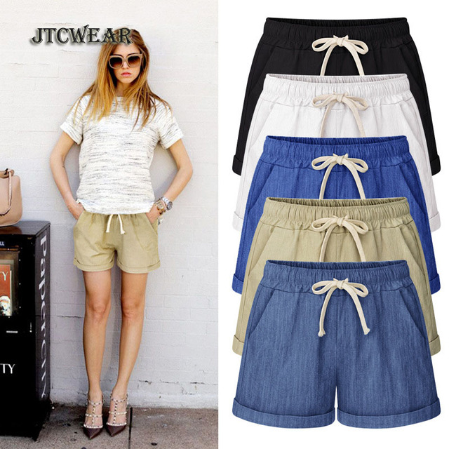 JTCWEAR Summer Woman New Cotton Linen Plus Size Shorts Elastic Lace Up Big Size 6x 5xl 4xl 3xl Thin Cool Loose Girls Shorts
