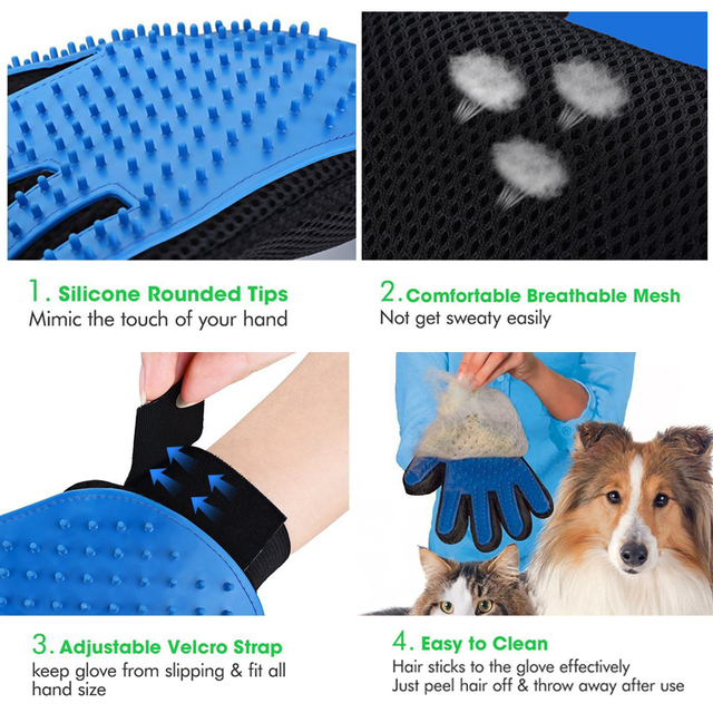 New Pet Dog Hair Brush Glove For Pet Cleaning Massage Grooming Comb Supply Finger Cleaning Pet Cats Hair Brush Glove For Animal  3