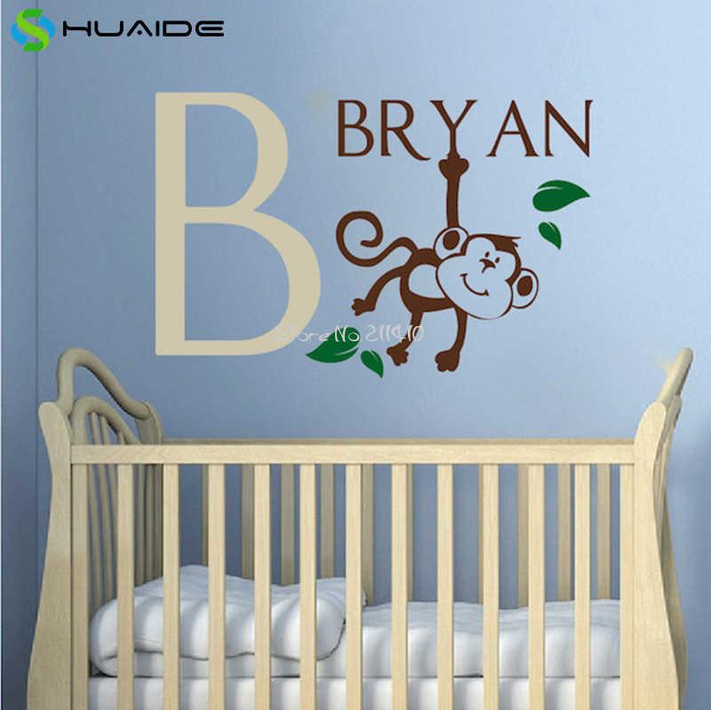مضحك قرد اسم مخصص اسم ملصقات الحائط للأطفال غرفة الطفل الجدار الوشم أفضل هدية عيد تزيين الغرفة a589