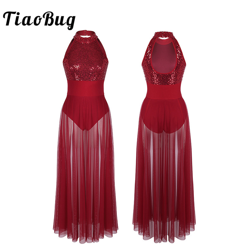 TiaoBug Women Sleeveless Halter Shiny Sequin Ballet Leotard Adult Stage Lyrical Dance Costumes Ballet Tutu Maxi Mesh Dance Dress