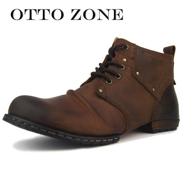 Otto Zone Handgemachte Echte Kuh Leder Herren Schuhe Stiefel Lace Up