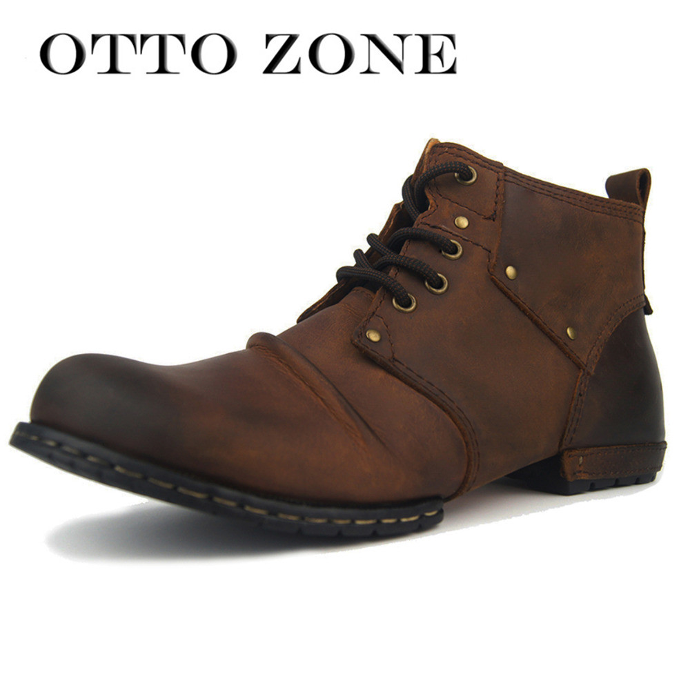 OTTO ZONE Handmade Genuine Cow Leather Men's Martin Boots Lace-Up Ankle Boots Men's Shoes With Fur Size Winter Boots Plus Size