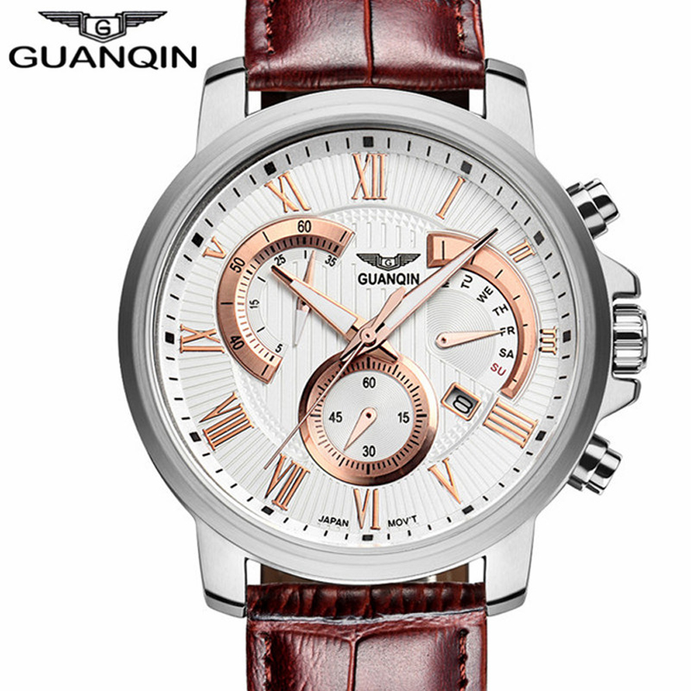 GUANQIN Top Brand Watches Men Military Sport Luminous Wristwatch Chronograph Mens Luxury Leather Quartz Watch relogio masculino 2017 jedir mens watches top brand luxury military sport quartz watch chronograph luminous analog wristwatch relogio masculino