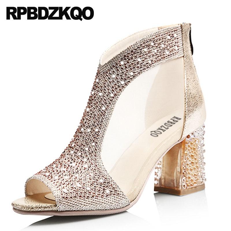 8c163b478e3afe Sandals Rhinestone Mesh Ankle Gold Wedding Metallic Peep Toe Silver Luxury  Brand Shoe Women Chunky Boots High Heel Bling Booties