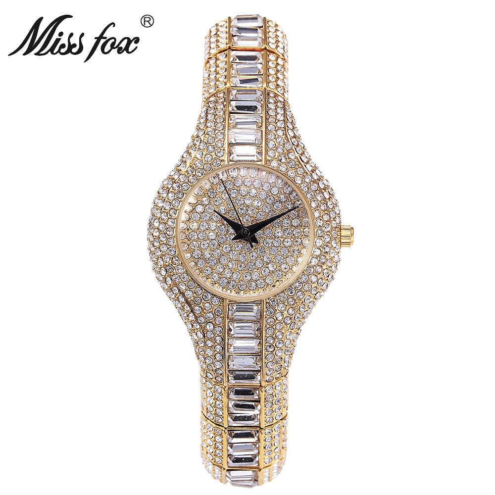 Miss Fox de luxe femmes montre de haute qualité Pure strass cristal petit visage dames Bling montres femmes marques de luxe montre-bracelet