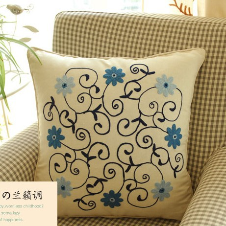 Sofa Cushion Cover Pattern: 45cmx45cm 2pcs lot Rural style Orchid flower pattern handmade LU    ,
