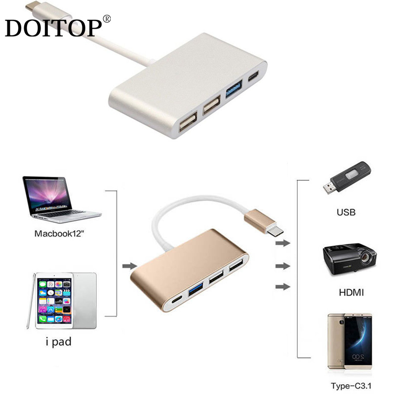 DOITOP 4 in 1 USB HUB Type C to Type C&1*USB3.0&2*USB2.0 Ports HUB Mini USB Adapter Cable For ipad Mobile Phones For Macbook A3