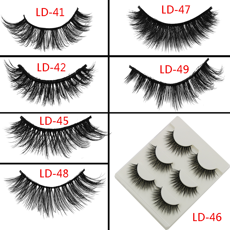 3 Pairs Natural Mink False Eyelashes Soft Thick Cross 3d Exaggerated Fake Eyelashes Smoked Makeup Tools Curling Mink Lashes