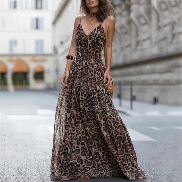 096e2efc4ddc Fashion Sexy Dress Leopard V Neck Spaghetti Strap Maxi Dress Women Summer  Chiffon Beach Long Dress Vestidos