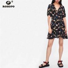 ROHOPO Lantern Sleeve Women Summer Bird Black Dress Ladies Office Pleated Tunic Dresses Top Button Fly Printed Clothe