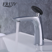 FRUD 1 Set Brass Bathroom Basin Faucet Black Round Handle Hot And Cold Water Deck Mounted