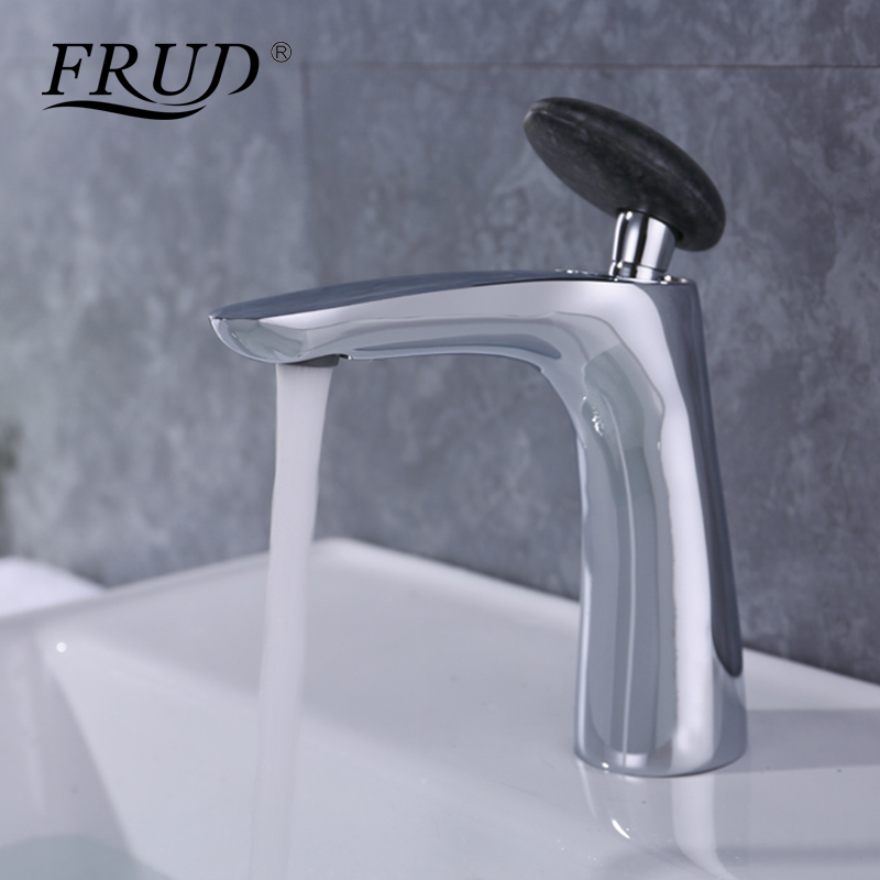 FRUD 1 set Brass Bathroom Basin Faucet Black Round Handle Hot and Cold Water Deck Mounted Mixer Faucet Robinet Cuisine Y10014 brass automatic sensor faucets cold and hot water mixer sense faucet basin hand washer deck mounted faucet