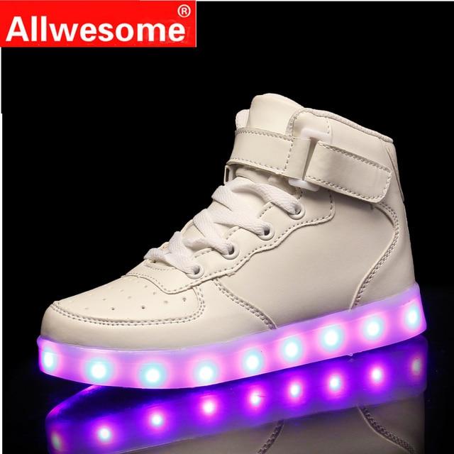 2019 Kids Led Usb Charging Shoes Glowing Sneakers Children Hook Loop  Luminous Shoes for Girls Boys Men Women Skate LED Shoes