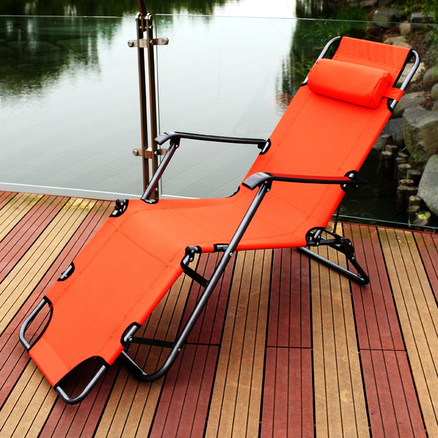 2018 New Sun Loungers Outdoor Camping Folding Beach Chair Bed Adjustable Leisure Chair Breathable Reinforced Balcony Lazy Chair