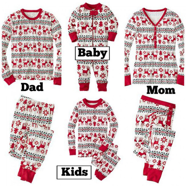 Moda para hombre pijamas de navidad mujeres pantalón camiseta set pijamas de la familia de madre e hija a juego suéteres de navidad