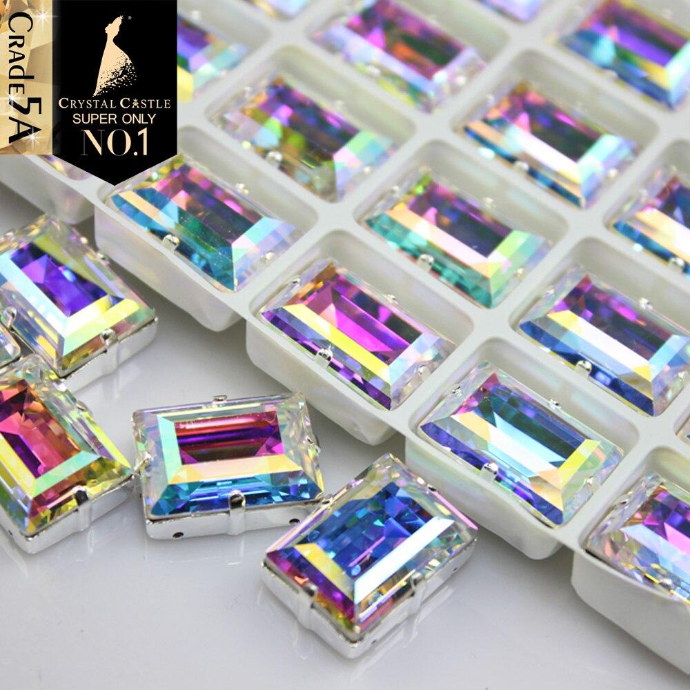 Castelo de cristal Costurar Em Strass Garra Melhor Configuração de Pedra Extravagante Retângulo Em Forma de Pêra Rivoli Cristal AB Strass Strass De Vidro